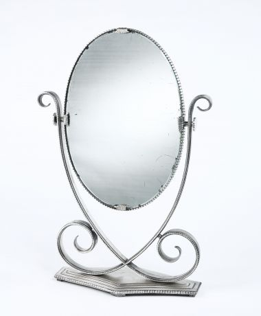 Silvered Wrought Iron Table Mirror by Edgar Brandt_0