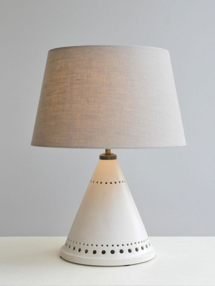 Conical White Ceramic Table Lamp_0