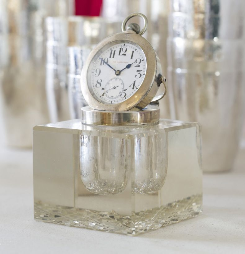 Glass & Silver Mounted Inkwell with Clock_0