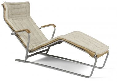 Rare Slatted Lounge Chair & Sling Base_1