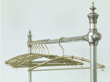 Bamboo Coat Hanger in Solid Brass_1