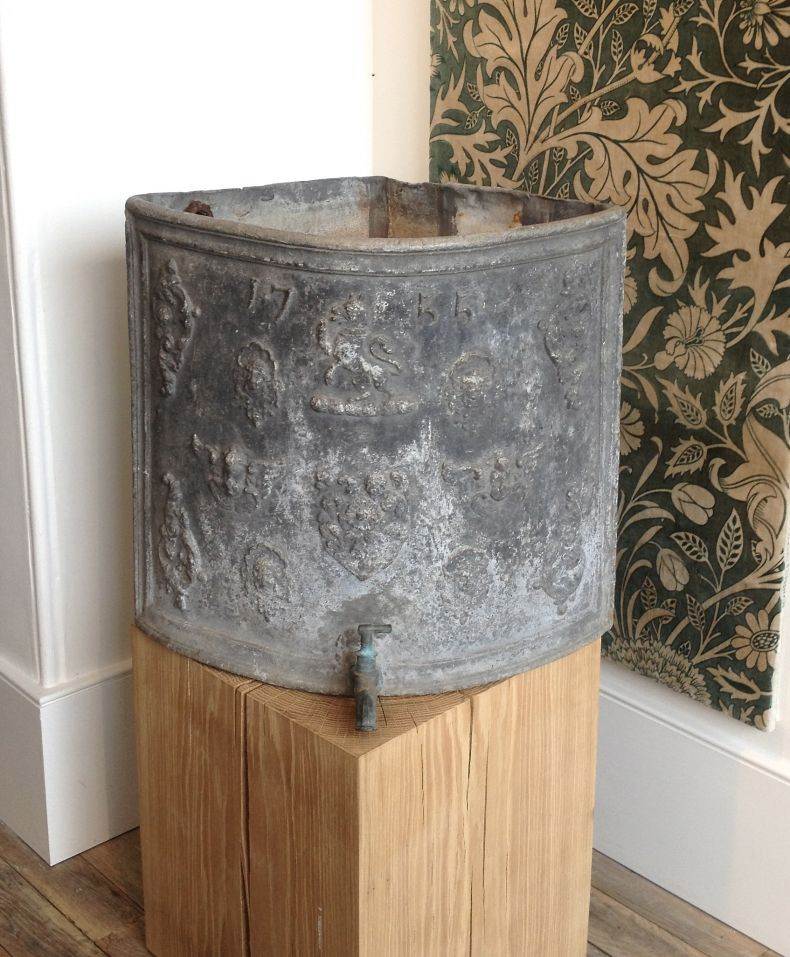 Antique Large Lead Corner Cystern