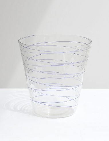 1960's Murano Bucket Vase with Blue Spiral_0