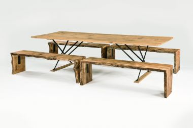 Waney Edge Oak Bench in Pippy Oak_2