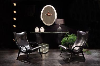 Pair of Black Sandstone Ceramic 'Trilobe' Lamps by Isabelle Sicart_4