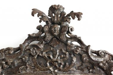 17th Century Italian Carved & Silvered Mirror_2