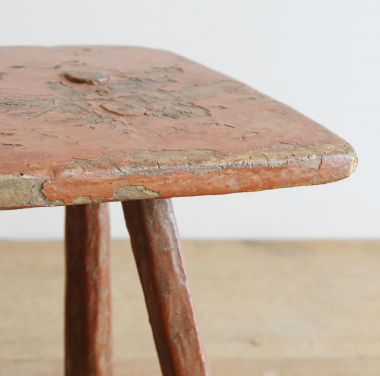 Small 18th Century Rustic Red Stool_1