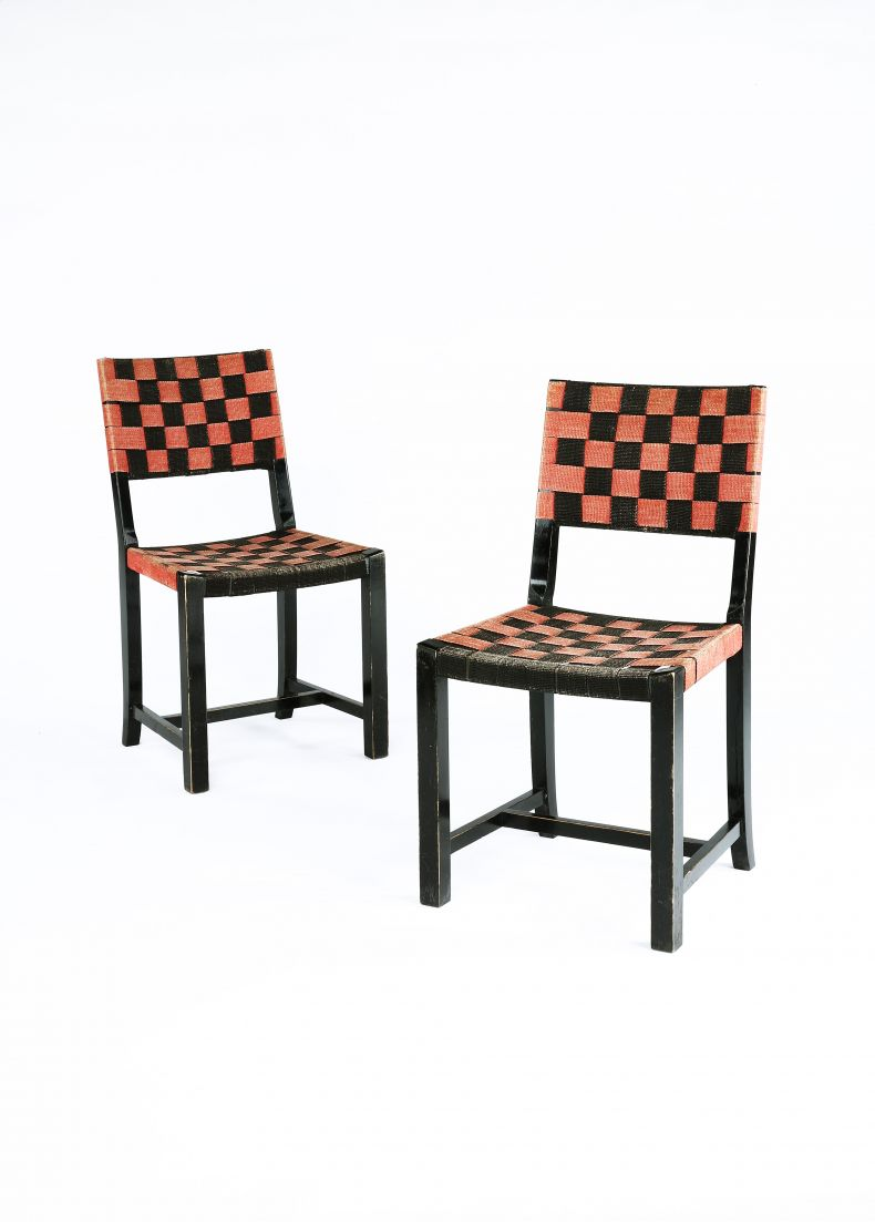 Original Axel Larsson red and black webbed chairs