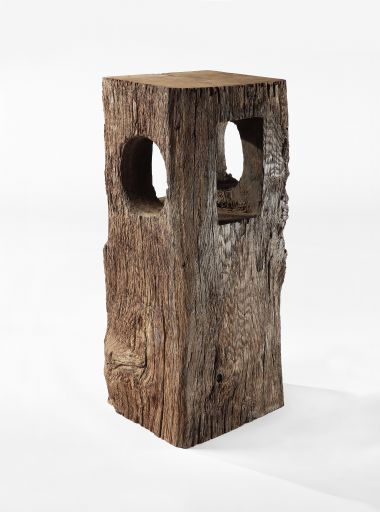 Large Sculptural Oak Plinth_0