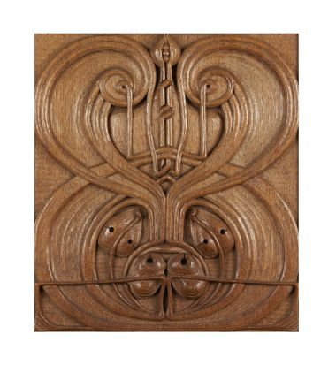 Art Nouveau Carved Oak Panel_1