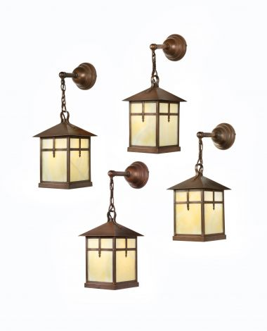 Set of Four Arts & Crafts Alabaster & Copper Lanterns_0
