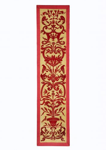 Panel of 19th Century Applique Red Velvet