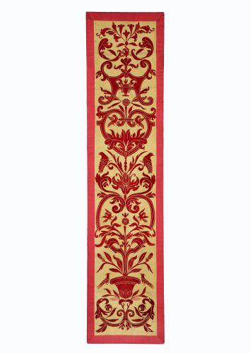Panel of 19th Century Applique Red Velvet