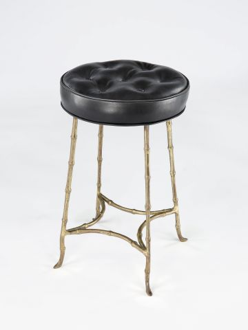Small Faux bamboo Upholstered Stool by Maison Bagues