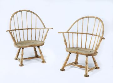 Pair of Beech and Elm Windsor Elbow Chairs