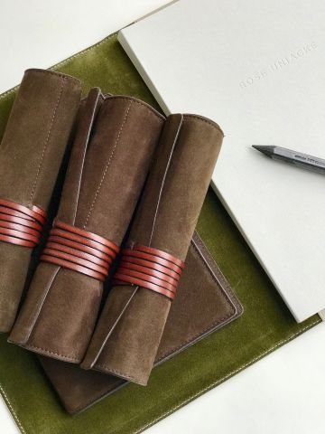 Nubuck Pen & Pencil Roll by Rose Uniacke