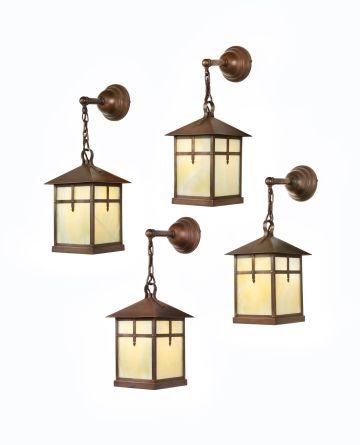 Set of Four Arts & Crafts Alabaster & Copper Lanterns