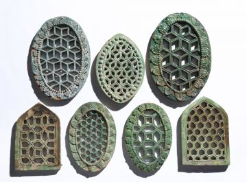 Set of Seven 19th Century Indian Window Tiles