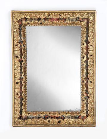 Carved, Gilded & Polychrome 'Cassetta' Framed Mirror