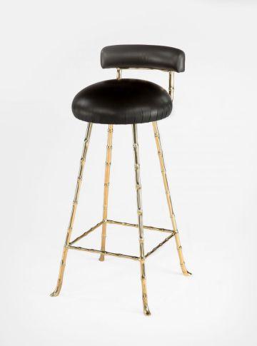 Upholstered Bar Stool with Back Rest