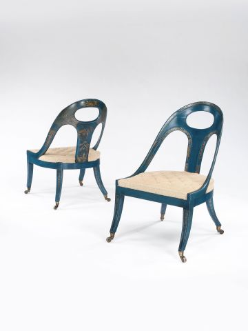 Pair of Late Regency Chinoiserie Library Chairs