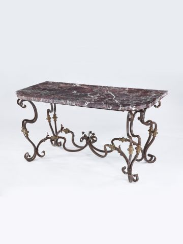 Pair of Spanish 19th Century Wrought Iron Console Tables