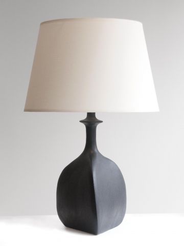 Pair of Black Sandstone Ceramic 'Trilobe' Lamps by Isabelle Sicart