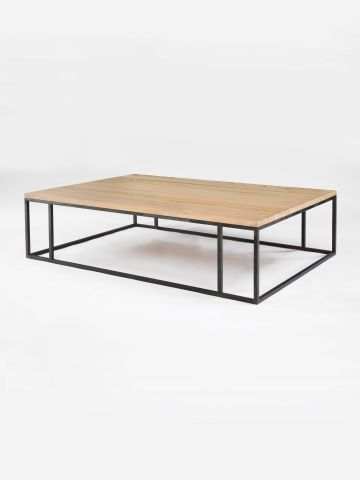 Douglas Fir Patinated Steel Coffee Table
