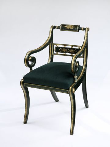 Regency Faux Bronze Greek-Revival Elbow Chair