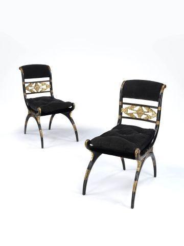Pair of Regency Ebonised & Parcel Gilt Curule Side Chairs