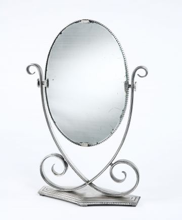 Silvered Wrought Iron Table Mirror by Edgar Brandt