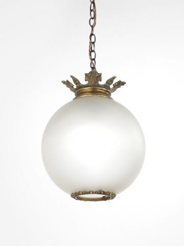 High Victorian Opalescent Hanging Globe