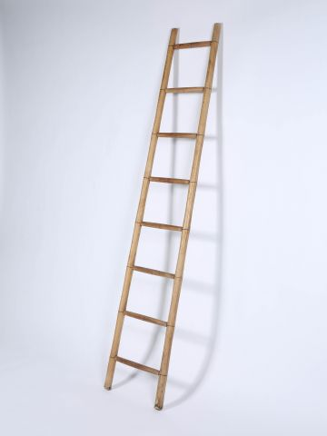 Edwardian Turned Ash Library Ladder