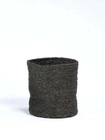 Waste Paper Basket in Black Jute