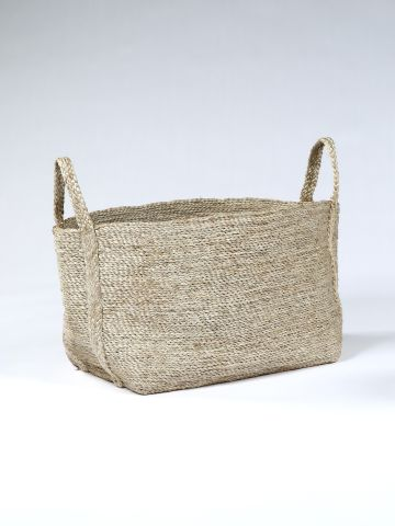 Large Square Basket in Natural Jute