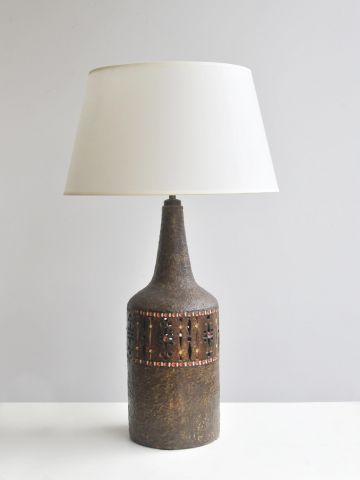 Brown Glazed Ceramic Lamp by Raphael Giarrusso