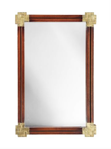 Brass & Mahogany Mirror by Valenti