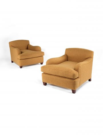 Pair of Deep Wool-Covered French Armchairs