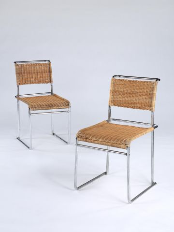 Pair of Chromium-plated Tubular Steel & Wickerwork Chairs