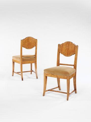 Set of Eight Karelian Birch Art Deco Dining Chairs