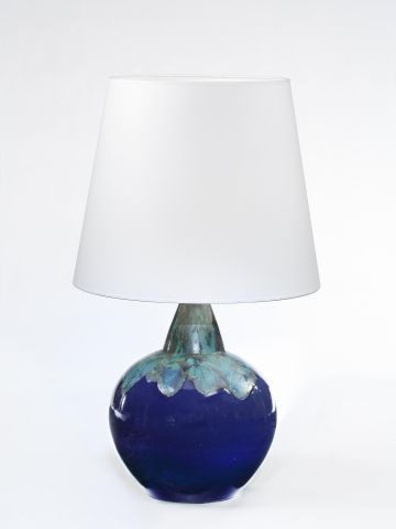 Large Dark Blue Glazed Stoneware Table Lamp