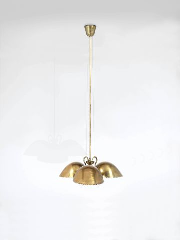 Swedish Triple Sconce Brass Ceiling Light