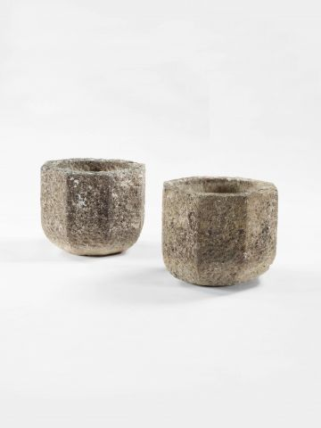 Pair of Arts & Crafts Limestone Pots