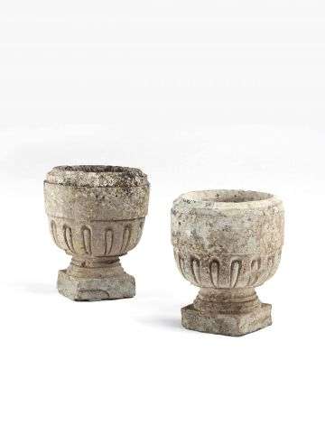 Pair of Maltese Carved Stone Urns