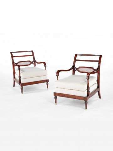 Pair of American 19th Century Bergeres