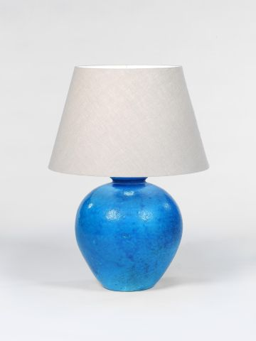 Large Blue 'Craquelure' Glaze Table Lamp