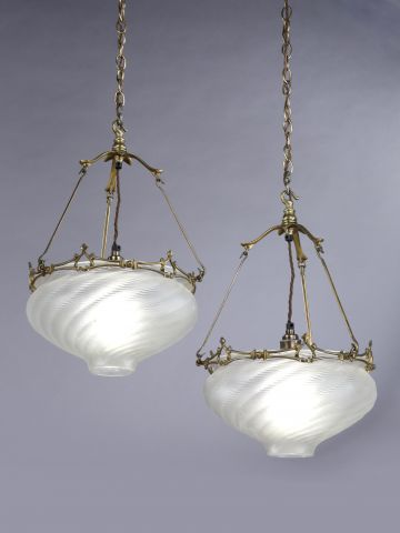 Pair of Glass Pendant Hanging Lights by W.A.S Benson