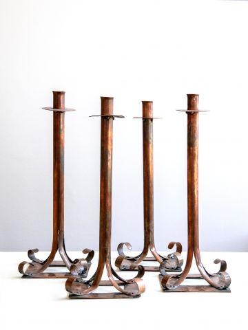 Set of Four Arts & Crafts Copper Candlesticks