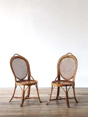 Pair of Cane & Bamboo Side Chairs