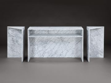 1970's Carrera Marble 'Triptych' Side Table by Angelo Mangiarotti